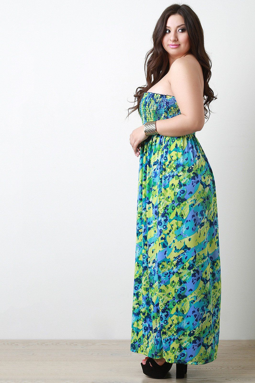 Abstract Empire Waist Strapless Maxi Dress Plus Size Dresses