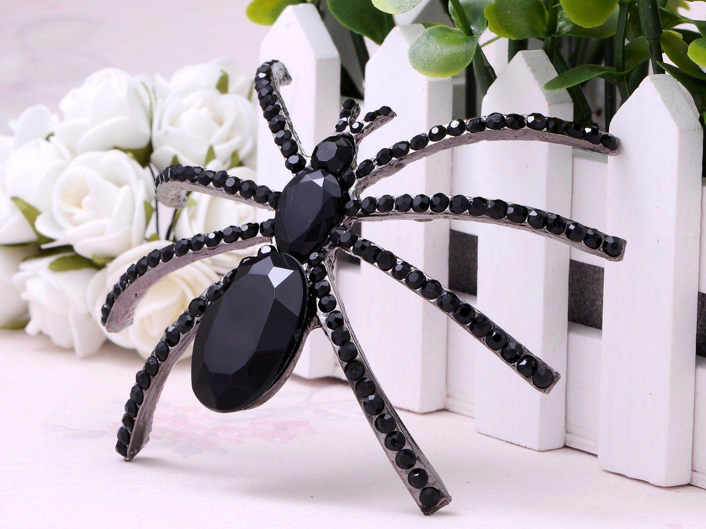 Alilang large jet black crystal rhinestone widow spider