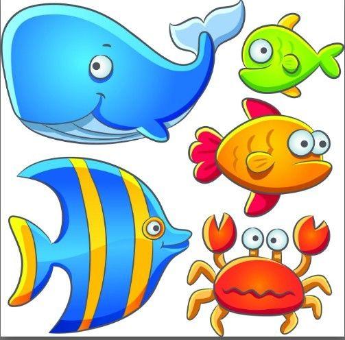 Free Cute Cartoon Marine Life Animals Vector Illustration 02 Titanui Cartoon Fish Cartoon Animals Marine Animals
