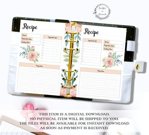 Printable Recipe, A5 Recipe Planner Template, Half Letter