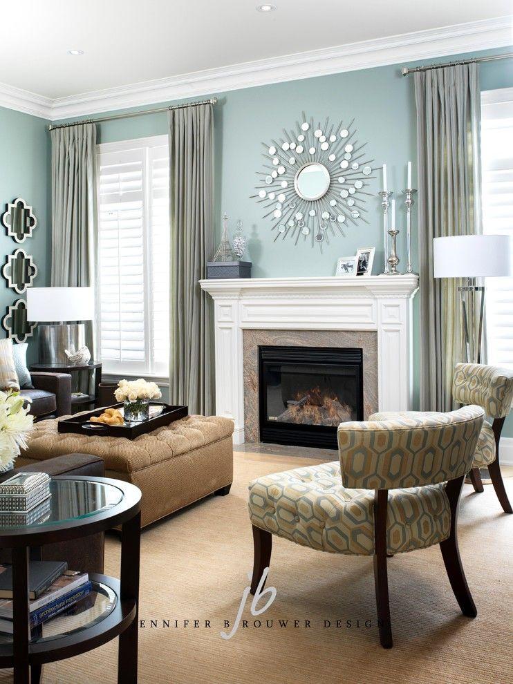 fireplace between windows   hmmm
