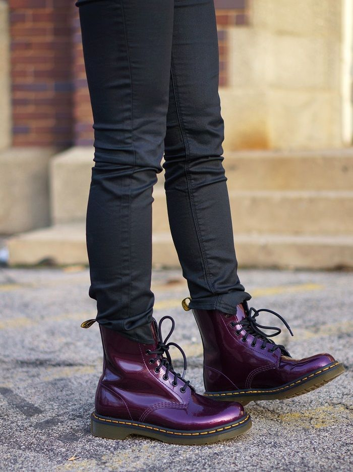 Dr Martens 1460 W Vegan Chrome Boots Dark Purple Chrome