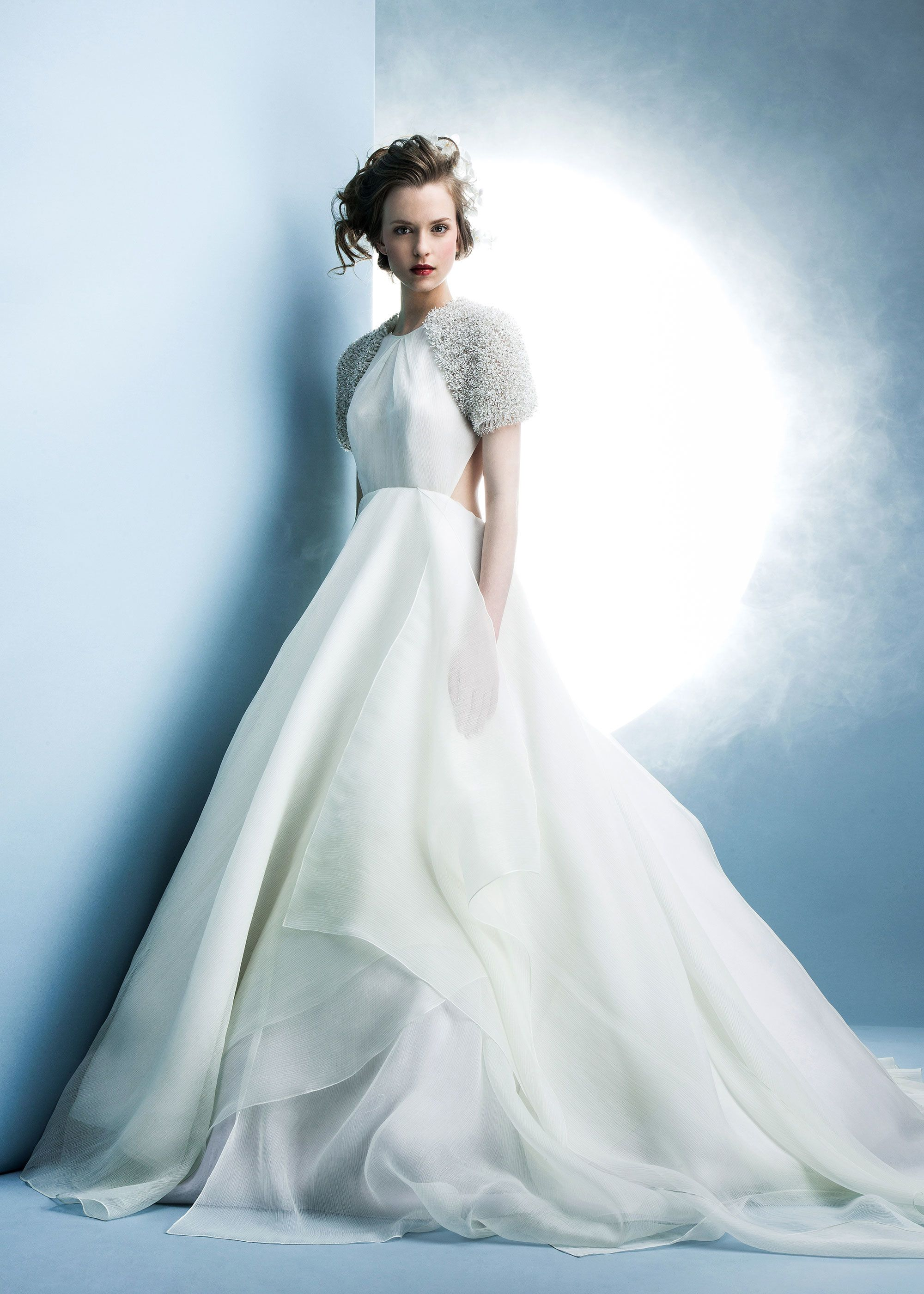 Angel Sanchez layered gauze dress with backless drape and 3-D floral ...
