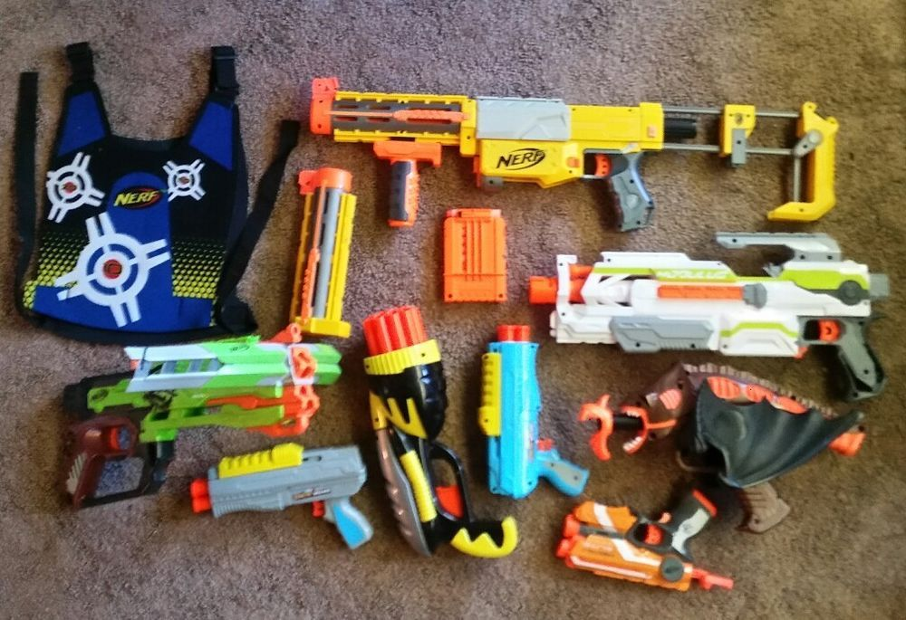 Nerf Gun lot Vest And Darts Huge 7 Guns Awesome Toys Buzz Bee