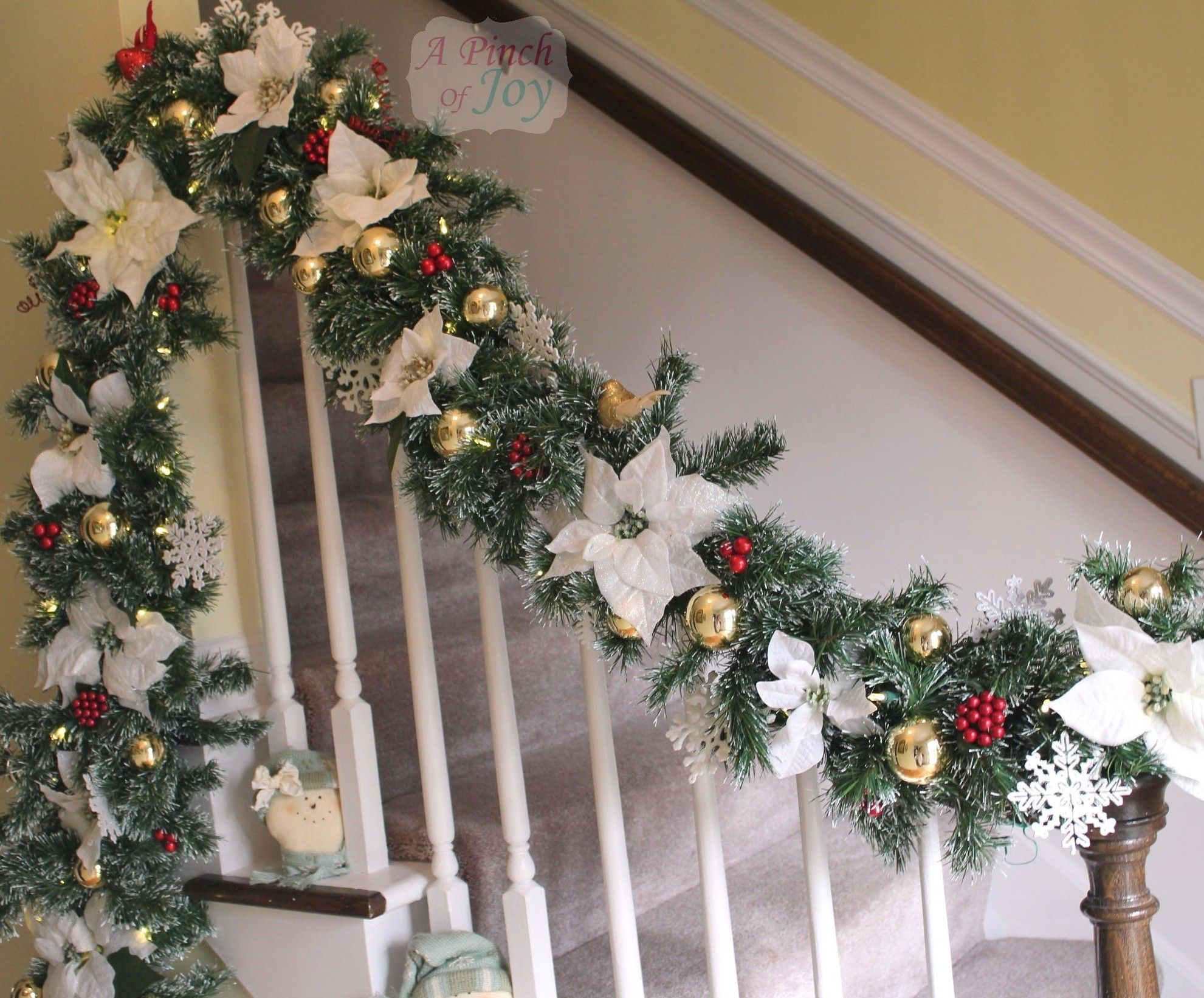 Christmas Garland Ideas Staircase Holiday Banister Garland A