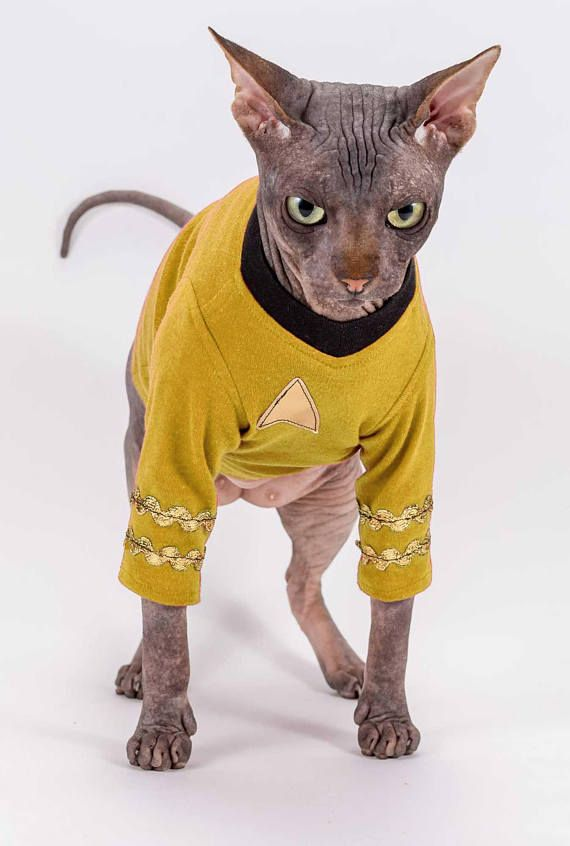 Pet Costume Star Trek Cat Costume Science Officer Mr Spock Sphynx Cat Clothes Star Trek Shirt Halloween Pet Costumes Cat Cat Halloween Costume Pet Bambino Cat