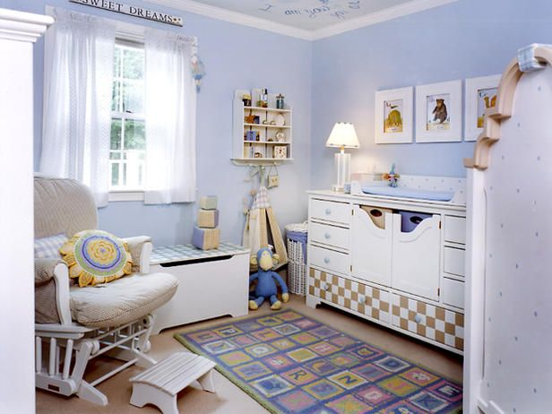 Light blue works well in kids' rooms, and when paired with the right accessories, it can act as a balanced neutral. In this playful nursery design, baby blue is paired with crisp white accents and soft pastels to create the perfect unisex bedroom. Design by Leslie Saul