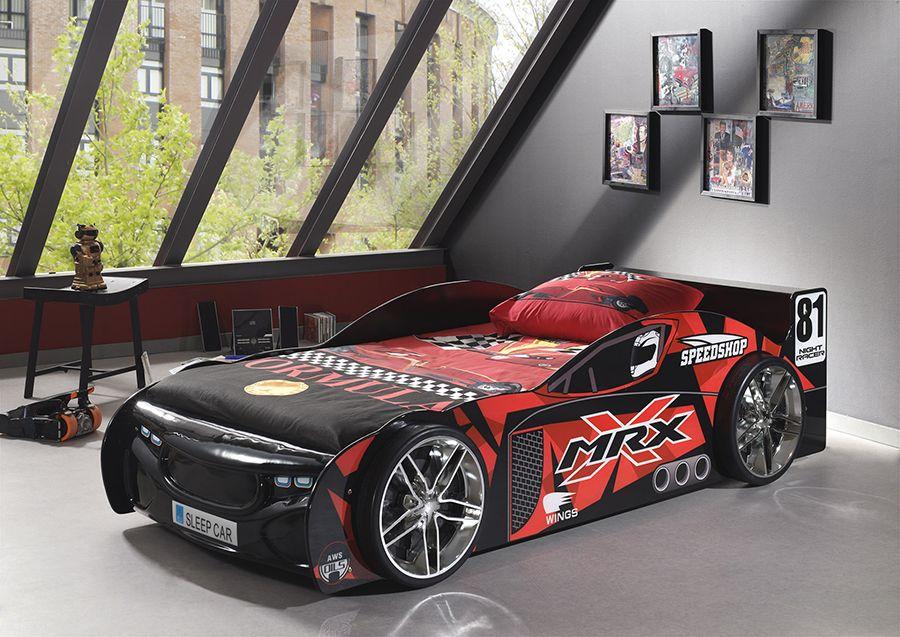 Lit voiture de sport noir BLACKCAR, avec éclairage LED chambre