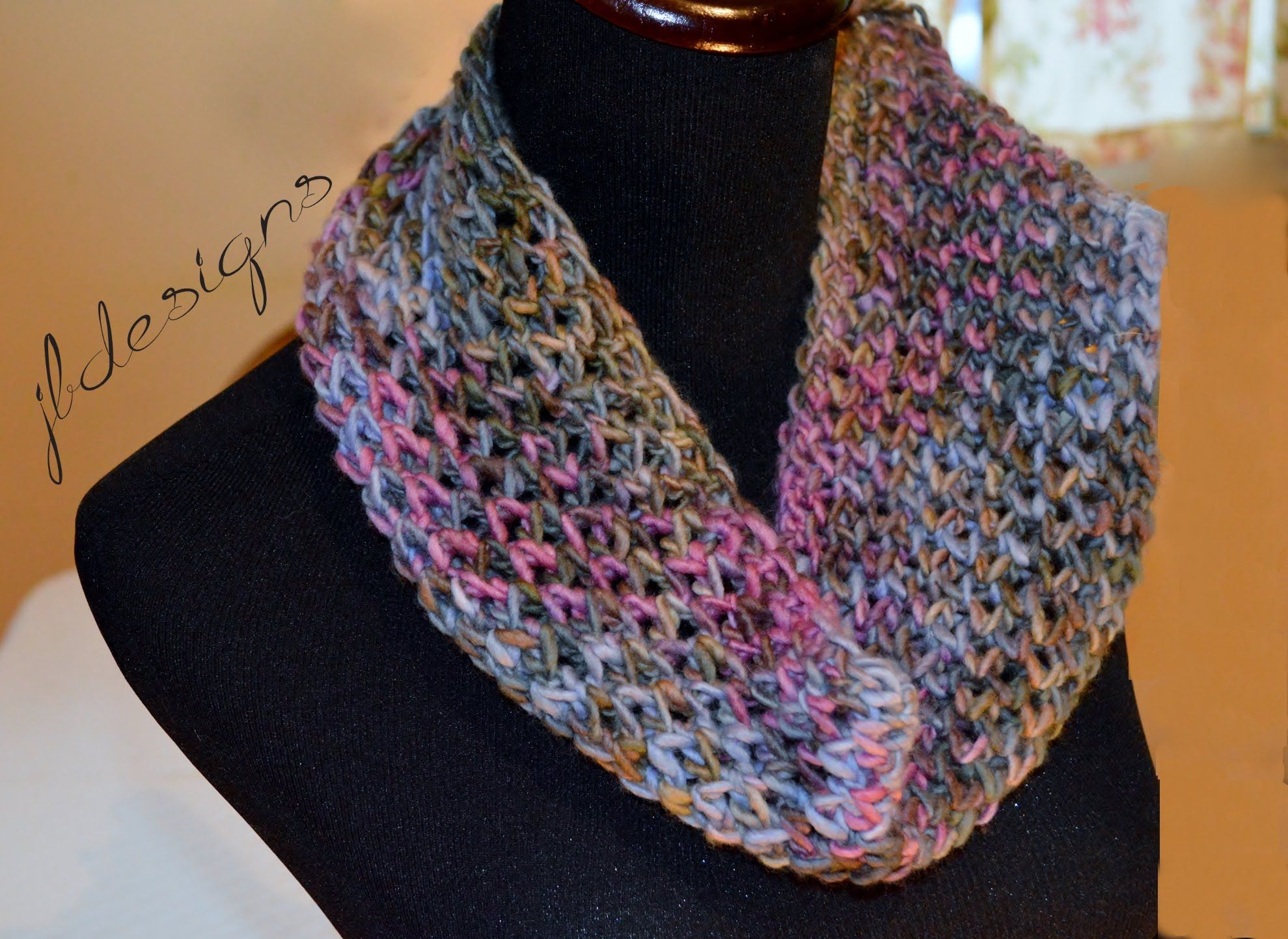 A beautiful lace scarf based off the loom knit diamond lace stitch ...