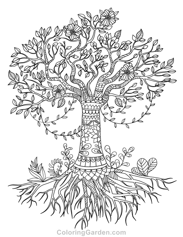 Free printable tree of life adult coloring page. Download
