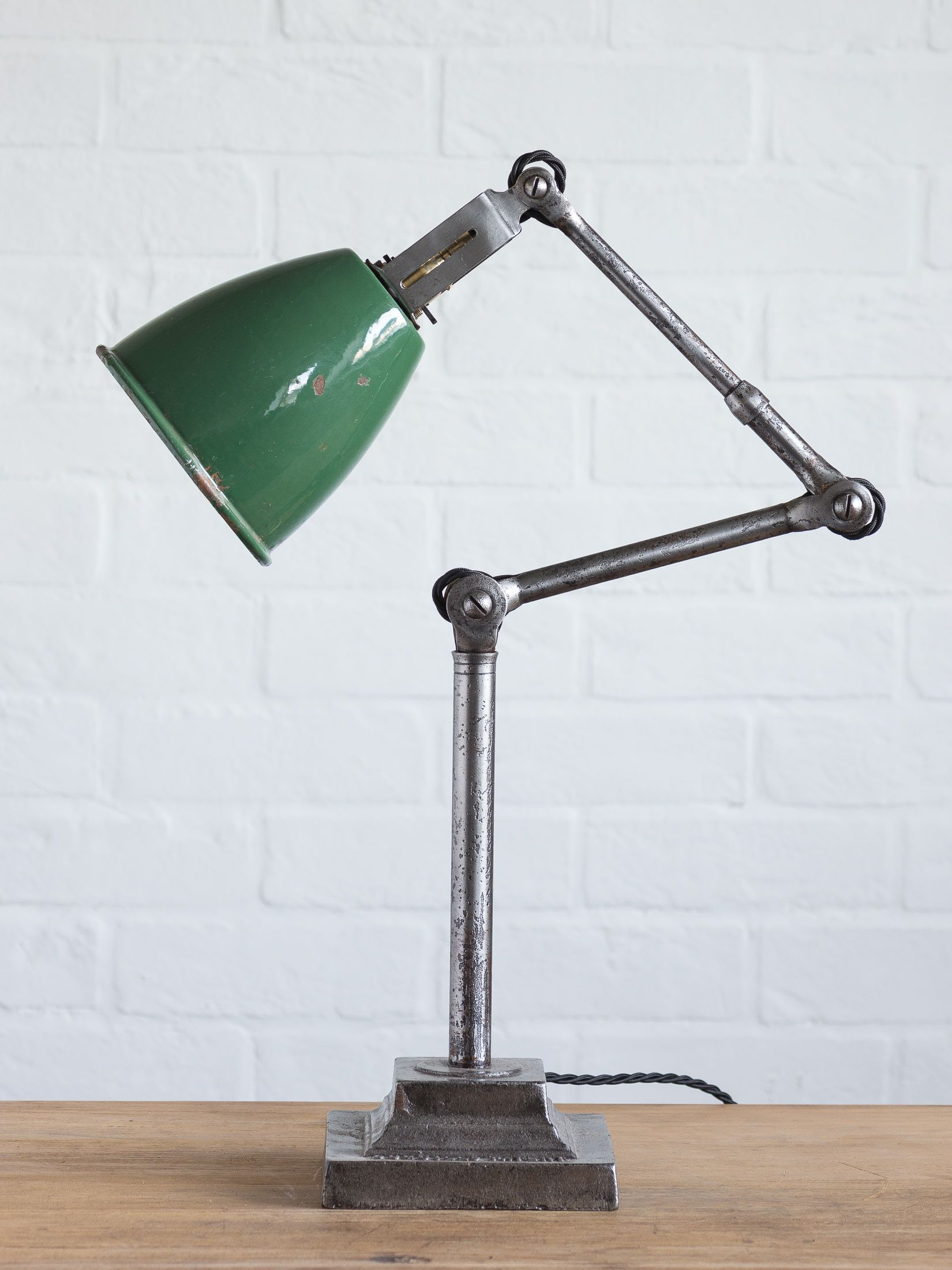 Vintage Industrial Dugdill Lamp With Classic Green Enamel Shade