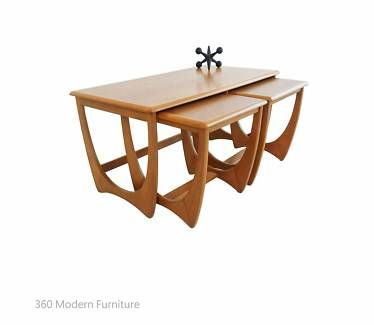 Mid Century Coffee Table Teak Nest Kalmar Retro X3 Vintage Danish 360 Modern Furniture Living Room Sets Furniture Cheap Furniture Website Regency Furniture
