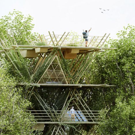 Penda's modular bamboo hotel could be<br /> expanded horizontally and vertically