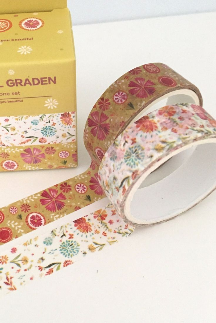 Garden and flower designed Washi Tape. So many patterns and colours to choose from, and so many crafty uses! Great for DIY craft decoration projects. Add that personal touch to frames, candles, notebooks and journals. Easy to use for kids craft activities