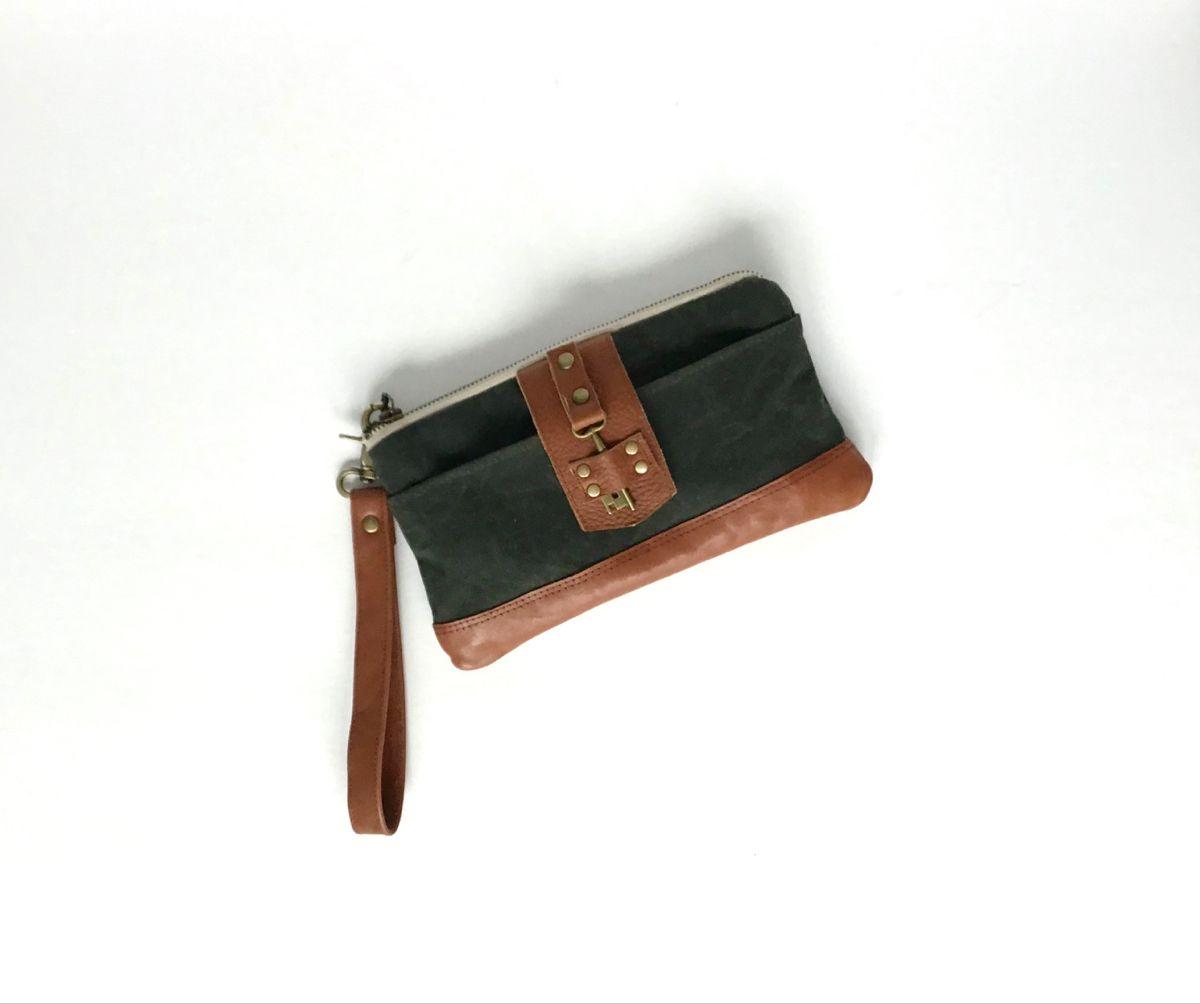 Minimalist Purse Small Southwest Wallet Brown Bohemian Waxed Canvas Wristlet