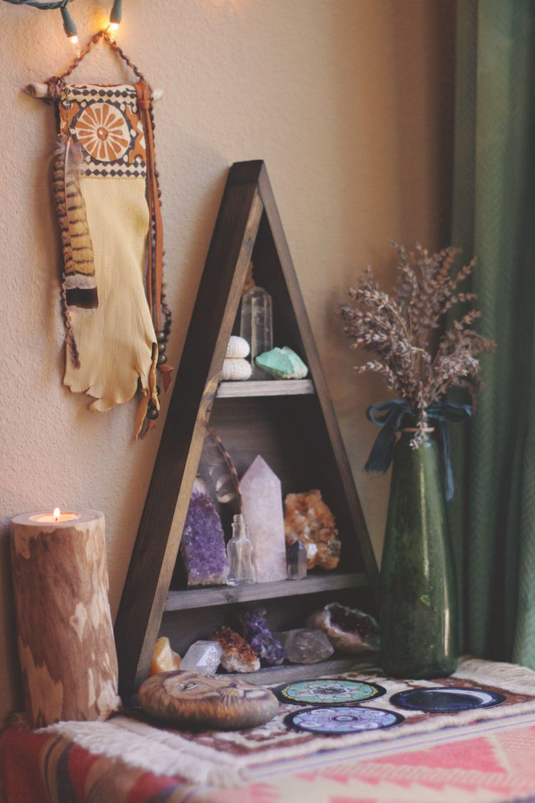 Copper moon shelf plants crystals and stone for Yoga decorations home