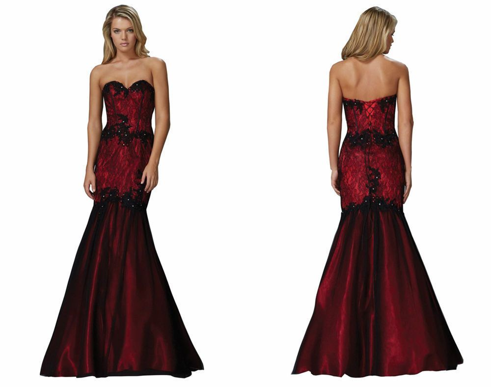Long red dress for wedding  Long Red and Black Formal Party Prom Bridesmaid Dresses Evening Ball