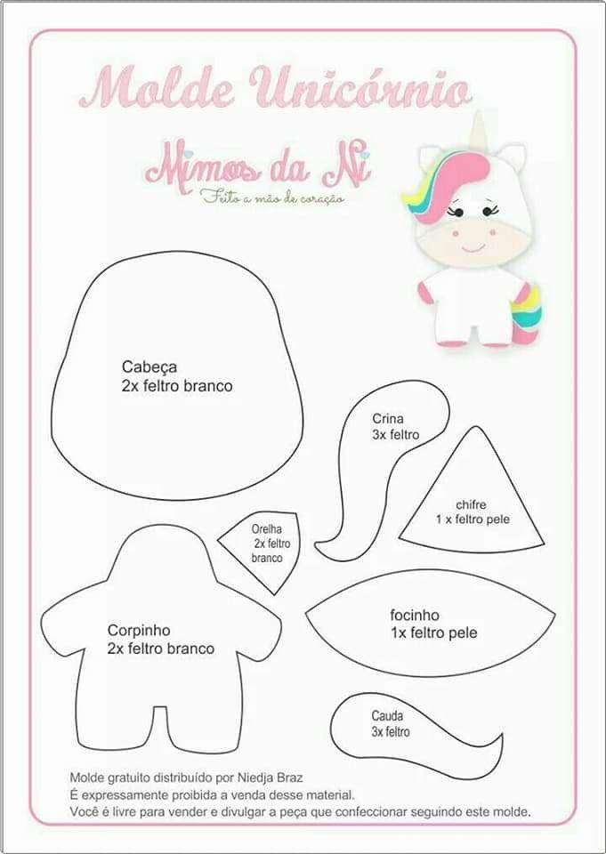 Pin de erica f en costura | Pinterest | Unicornio, Moldes unicornio ...