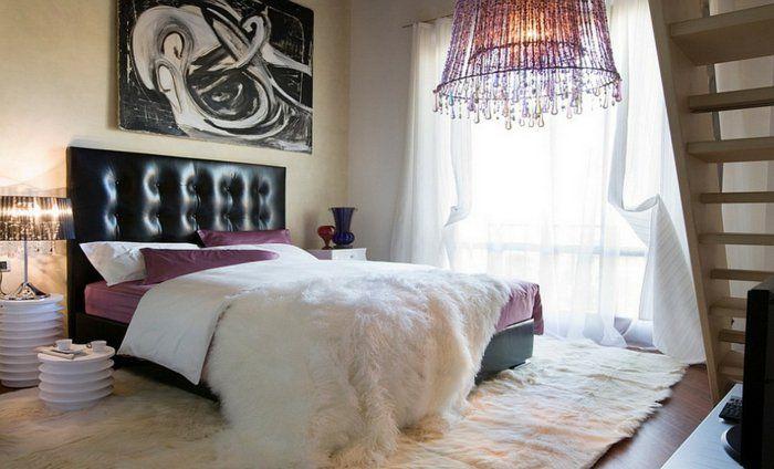 einrichtungsideen schlafzimmer schöne tischleuchten weißer teppich - gardine f r schlafzimmer