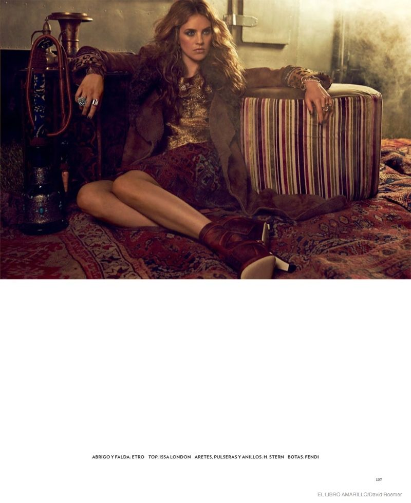 Julia Frauche wears gypsy bohemian style for El Libro Amarillo magazine 2014 Photoshoot