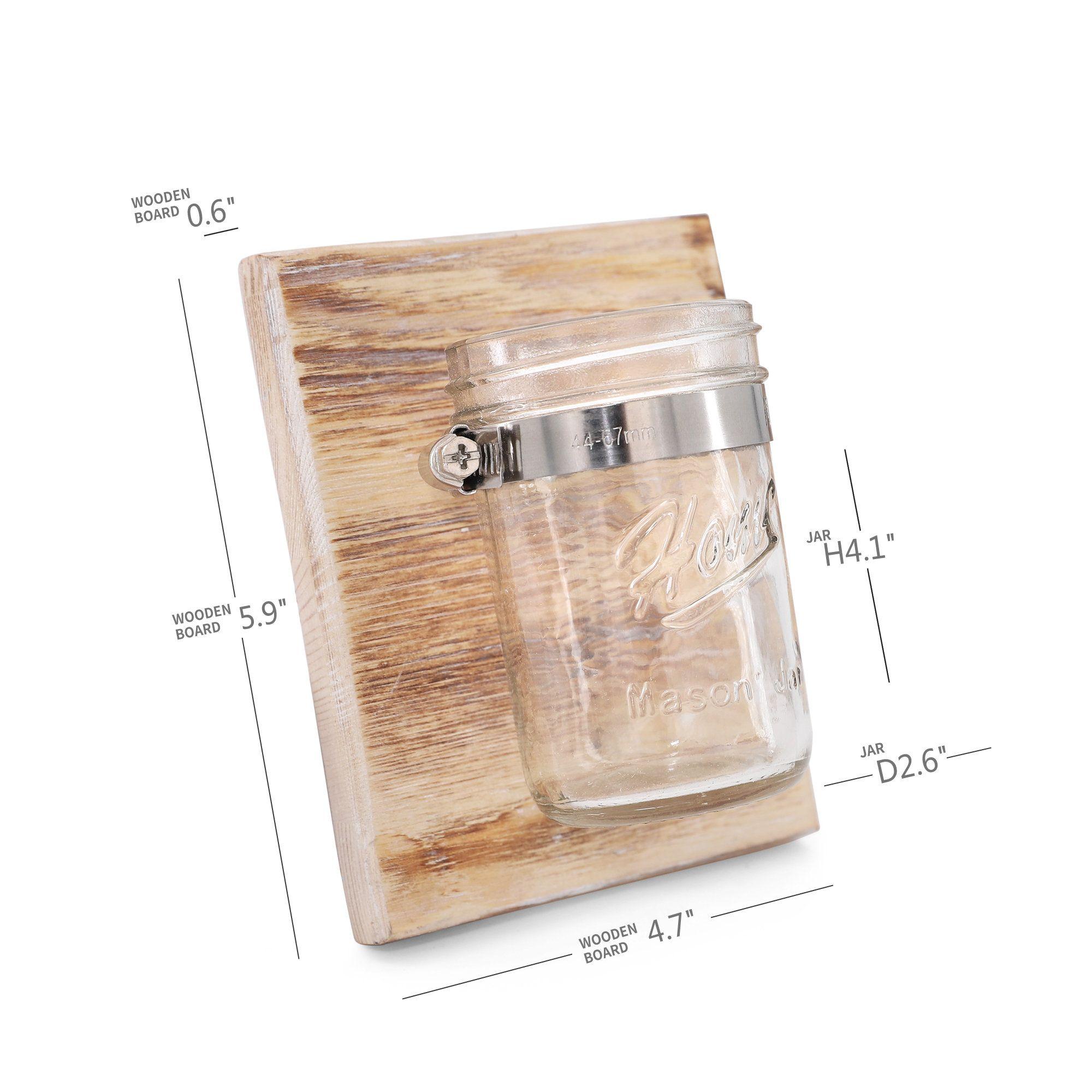DIY Wall Hanging Mason Jar Sconce - Rustic Home Decor, Farmhouse Organizer, Mason Jar Bathroom Storage, Candle Holder, Make up holder #masonjarbathroom
