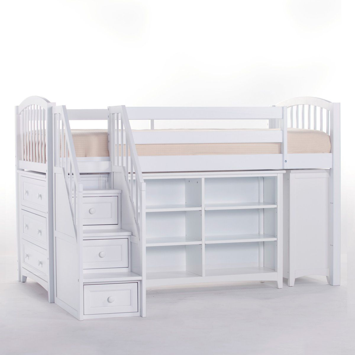 School House Storage Junior Loft With Stairs White Loft Beds