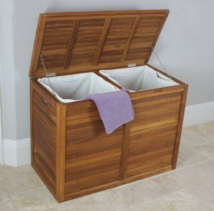 Amazon Com Teak Laundry Hamper Double Size From The Spa
