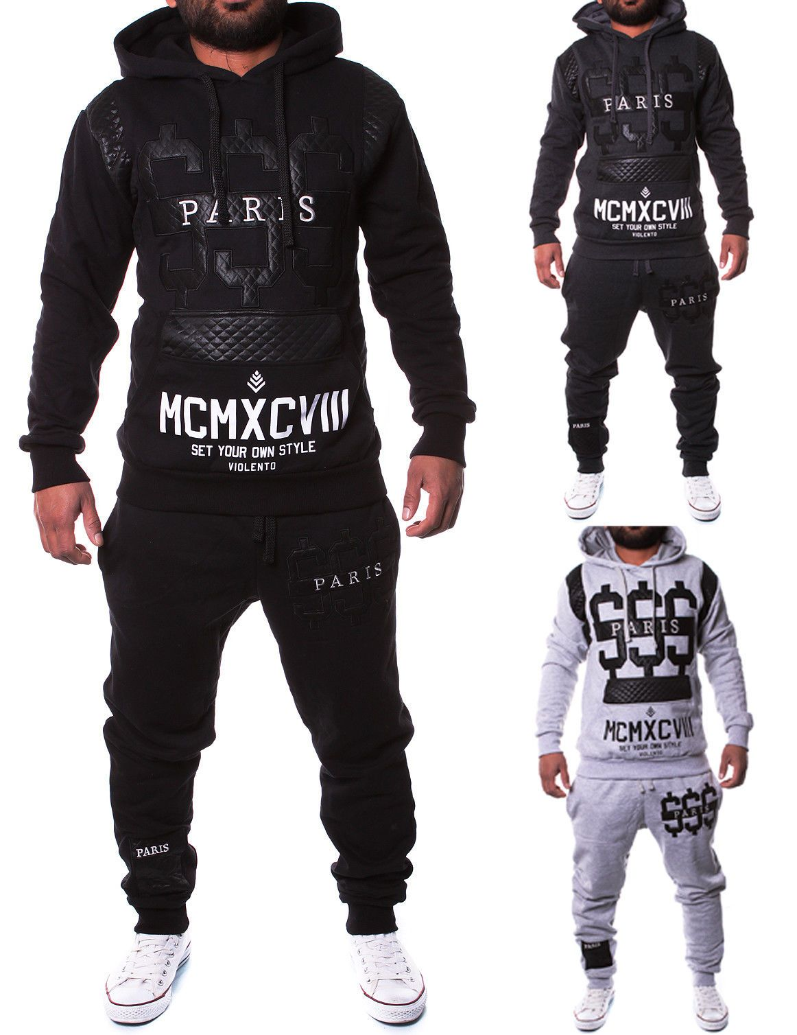 84fc77ffe1b6 Track Suits 59339  Leather Mens Jogging Suit Jacket Sports Pants Fitness  Hoodie Pants S16 S