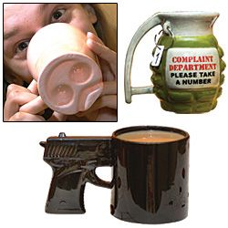 Grenade, Gun And Pig Snout Mugs $14.98
