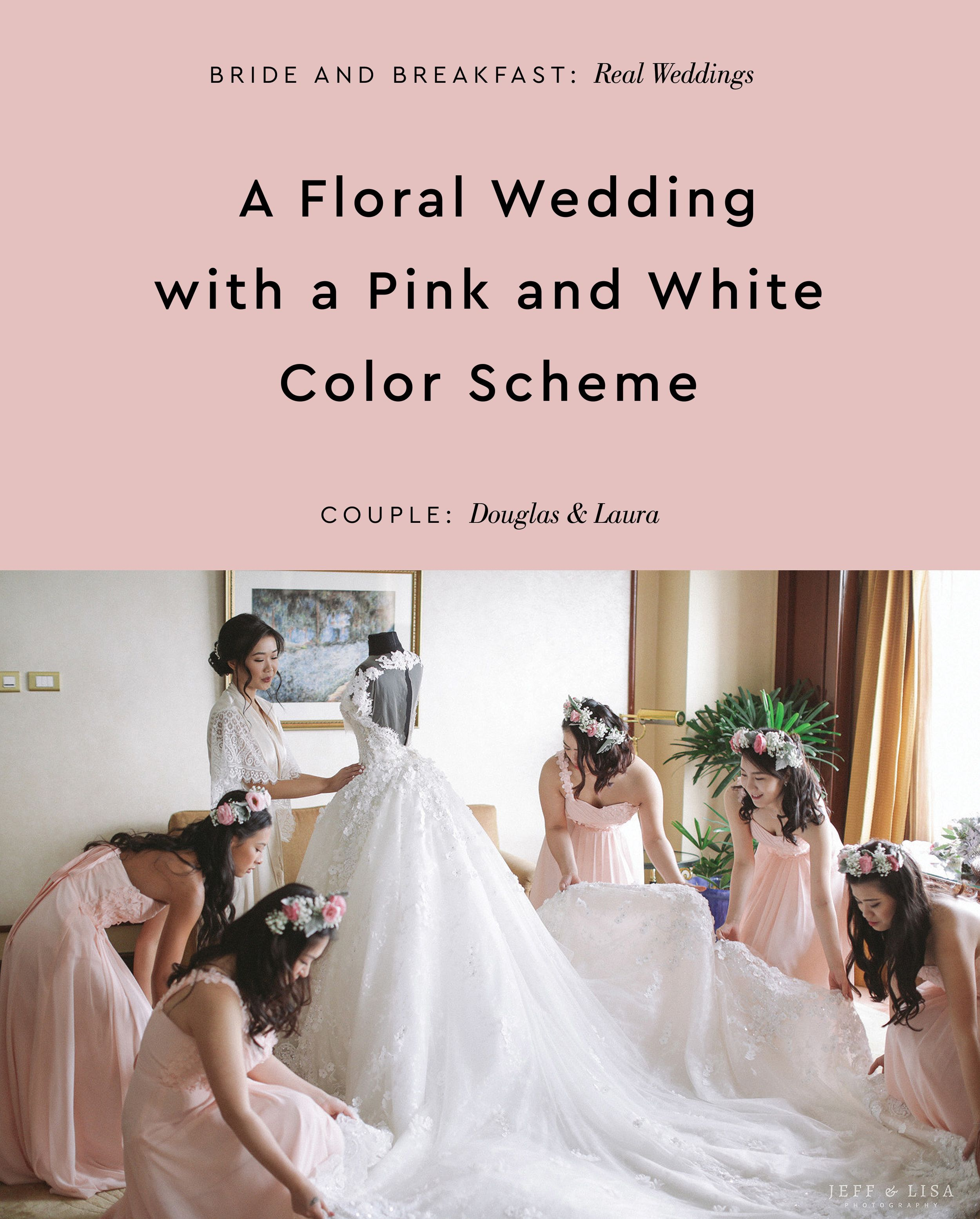 A Floral Wedding With A Pink And White Color Scheme