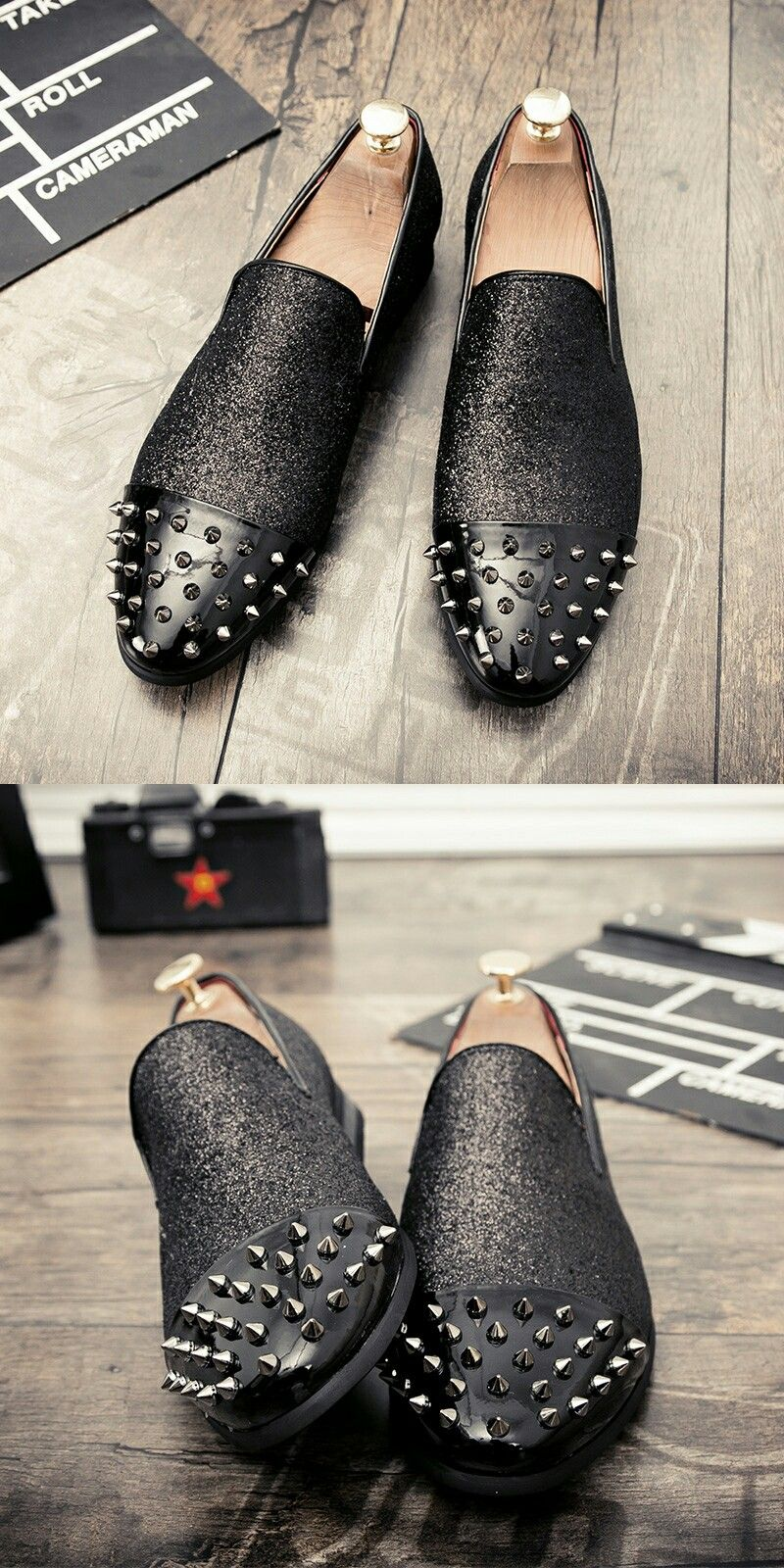 Us 29 05 Click To Buy Ectic 2018 Punk Style Men Loafers Toe Cap Black Spikes Rhinestones Glitter Casual S Loafers Men Mens Fashion Shoes Wedding Dress Shoes [ 1600 x 800 Pixel ]