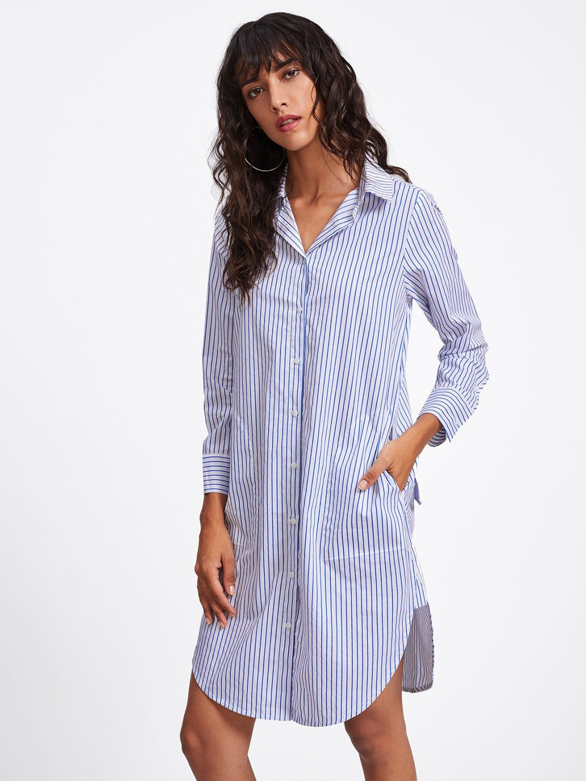 Curved hem stripe shirt dress top fashion tips pinterest