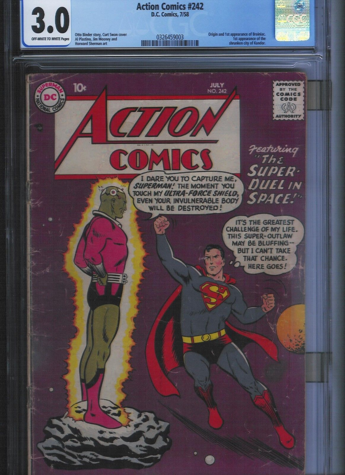 Action Comics 242 Cgc 3 0 Off White To White Pages Unrestored White Pages Comics Action