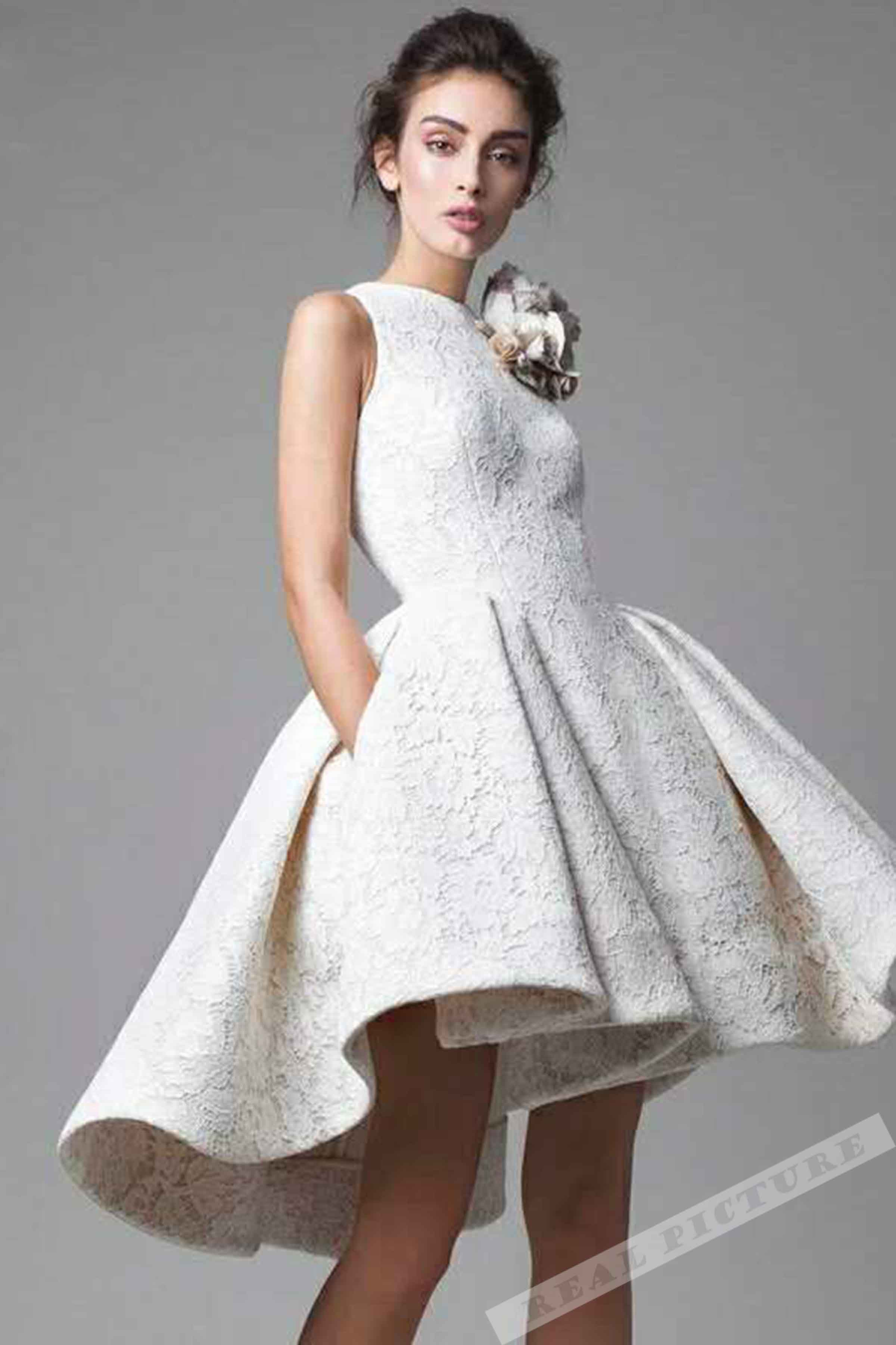 28878f2a56a White handmade flowers round neck high-low A-line short prom dres ...