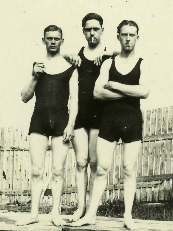 edb79897c5b97 Details about Cute Young Men / Guys in Swim Suits 1930's Snapshot ...