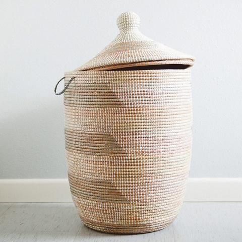 Woven African Laundry Clothes Hamper Grey Cream Large