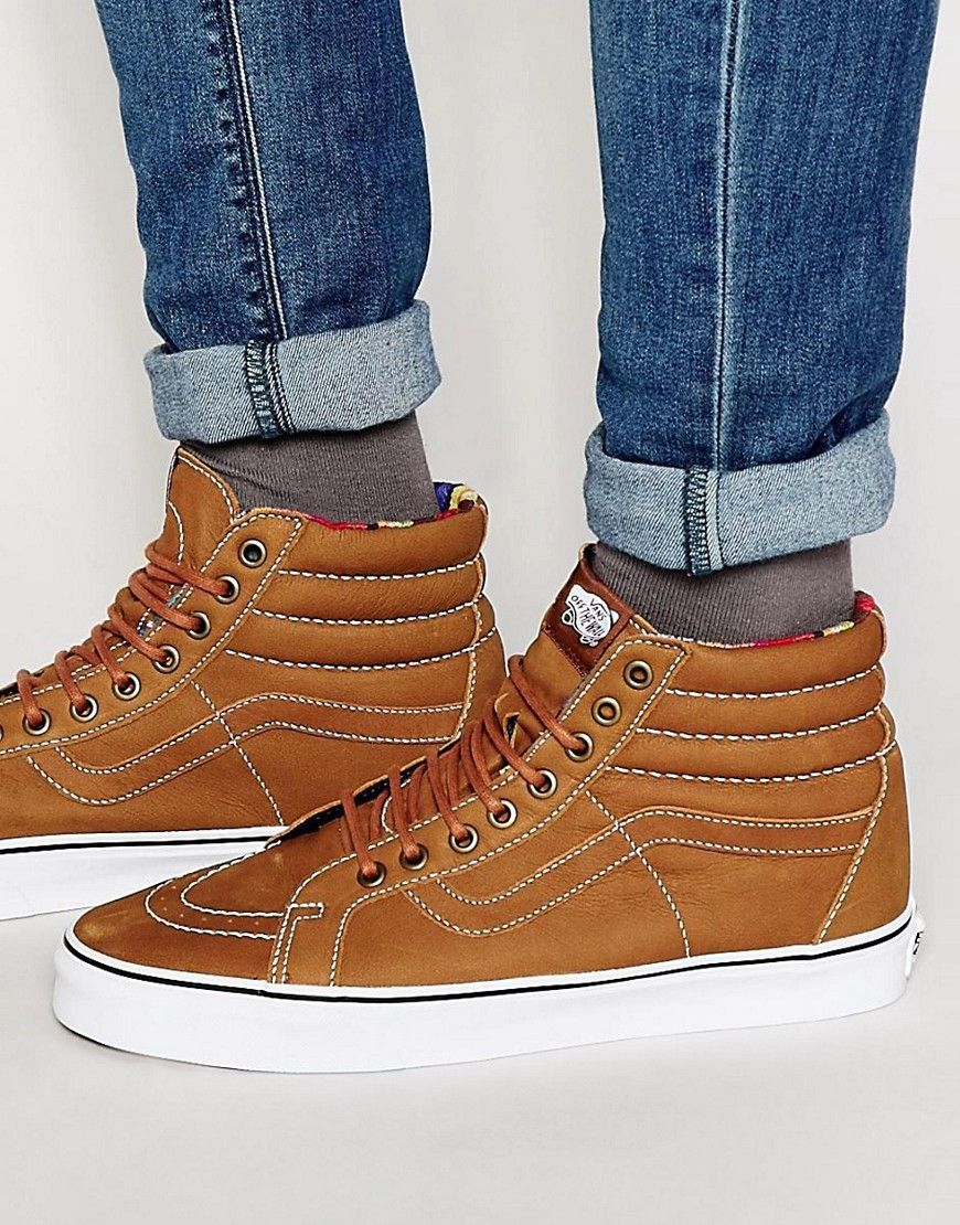 74a470d4658 Cool Vans Sk8 Hi Reissue Leather Trainers - Brown Vans Løbesko til Herrer i  dejlige materialer