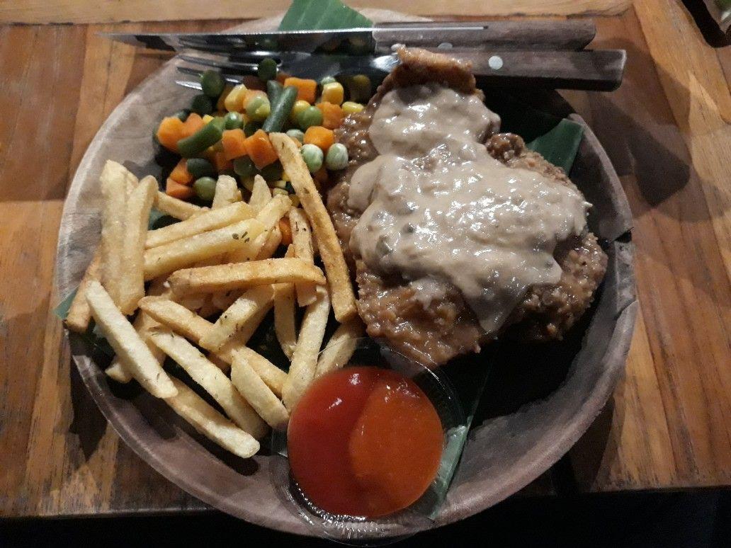 Chicken steak with special sauce by raminten kitchen yogyakarta indonesia