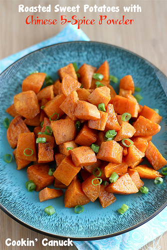 Roasted Sweet Potatoes with Chinese Five Spice Powder | cookincanuck.com #Thanksgiving
