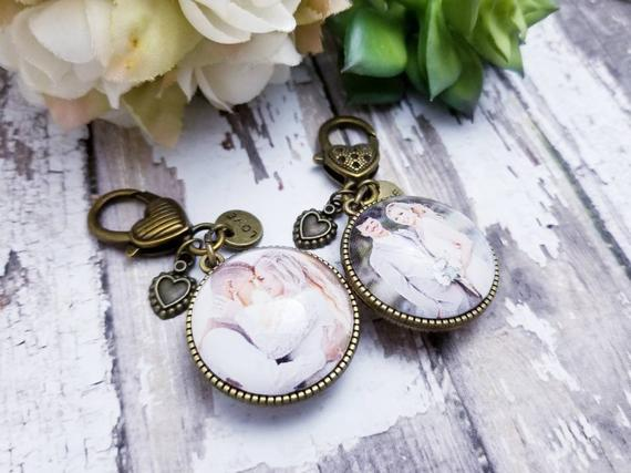 personalized single or double sided photo charm, wedding