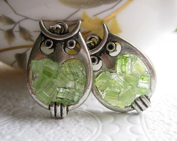 Peridot Stained Glass Owl Earrings.  Have to get Jenny these.  She loves owls too and peridot is her birthstone.