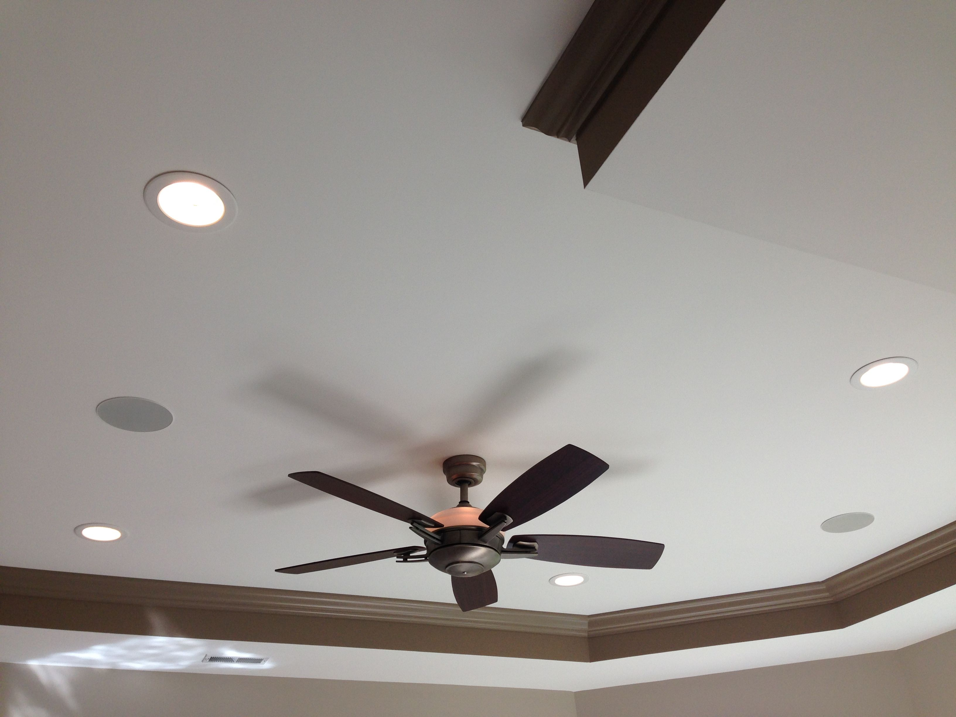 One Fan Two Speakers And Four Recessed Lights Featured On A Trey Ceiling All Installed By Tpro Electric Trey Ceiling Recessed Lighting House Inspiration