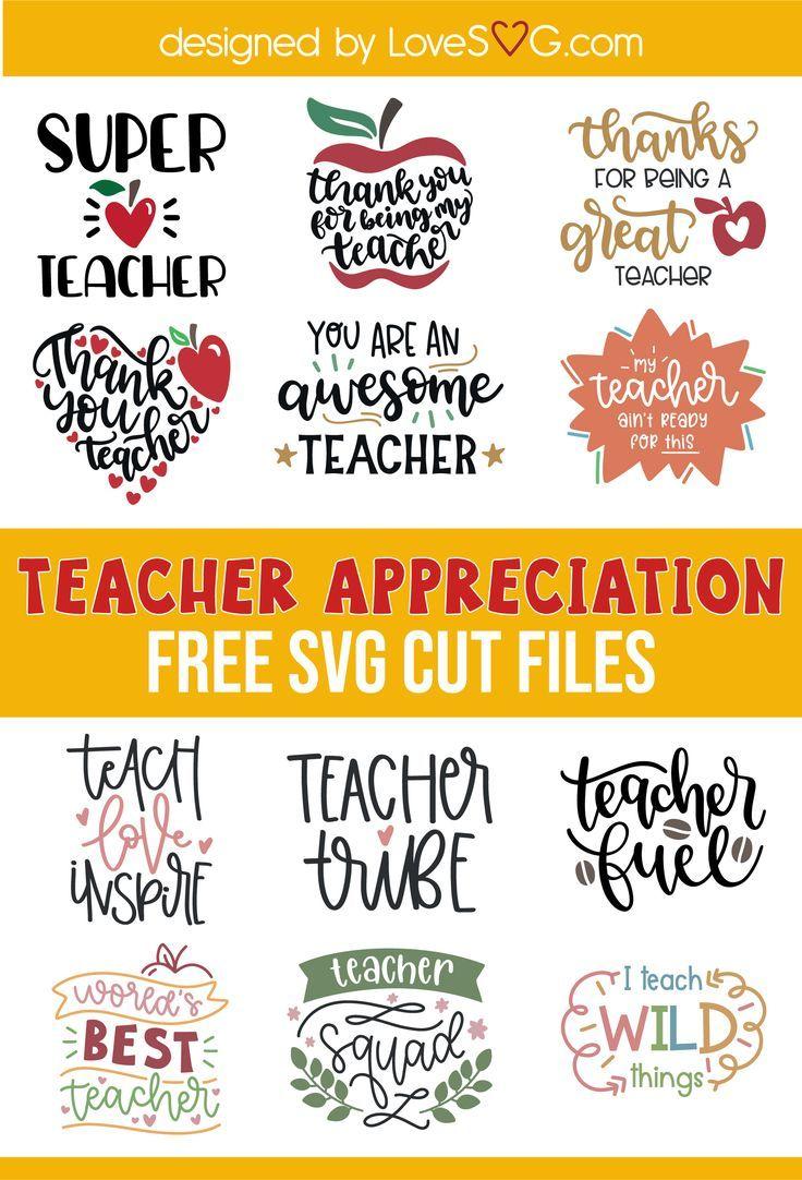 Download Free Teacher Appreciation SVG in 2020   Cricut projects ...