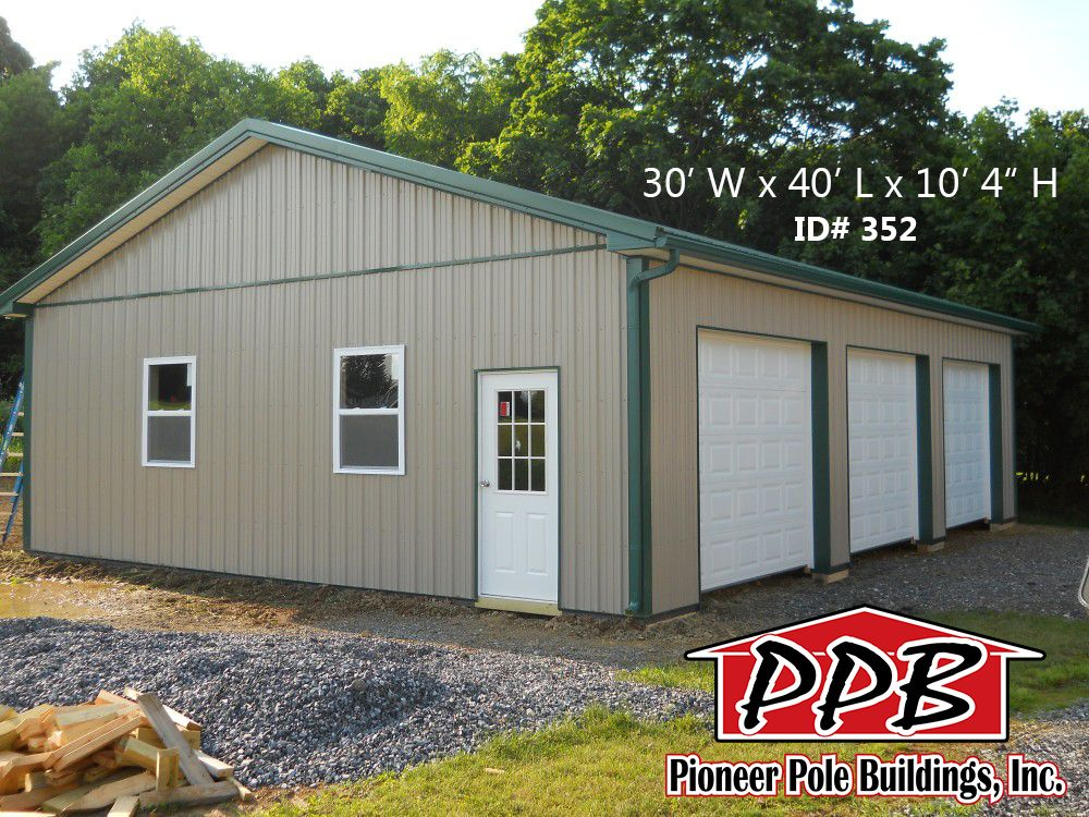 30 W X 40 L X 10 4 H Three Car Garage Id 352 30 Standard Trusses 4 On Center 4 12 Pitch Openings 3 10 X Pole Buildings Shed Building A Shed