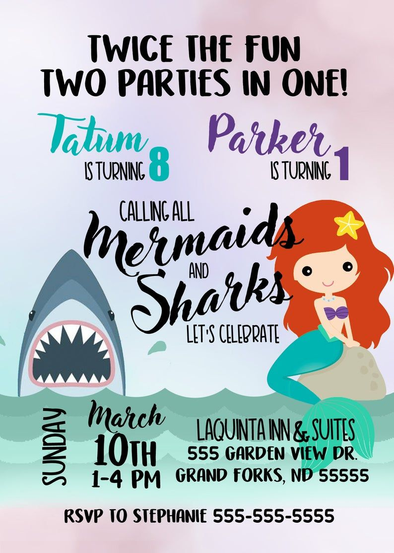 mermaid and shark or pirate combined birthday invitation for twins or boy girl birthday party with ocean theme teal pink purple digital file