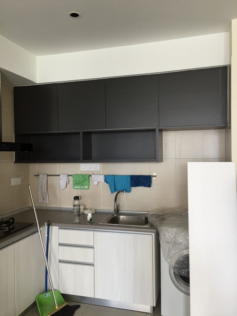 Drykitchen Darkgrey Laminate Cabinet Ica Goldencarpentry Malaysia Laminate Kitchen Kitchen Kitchen Cabinets