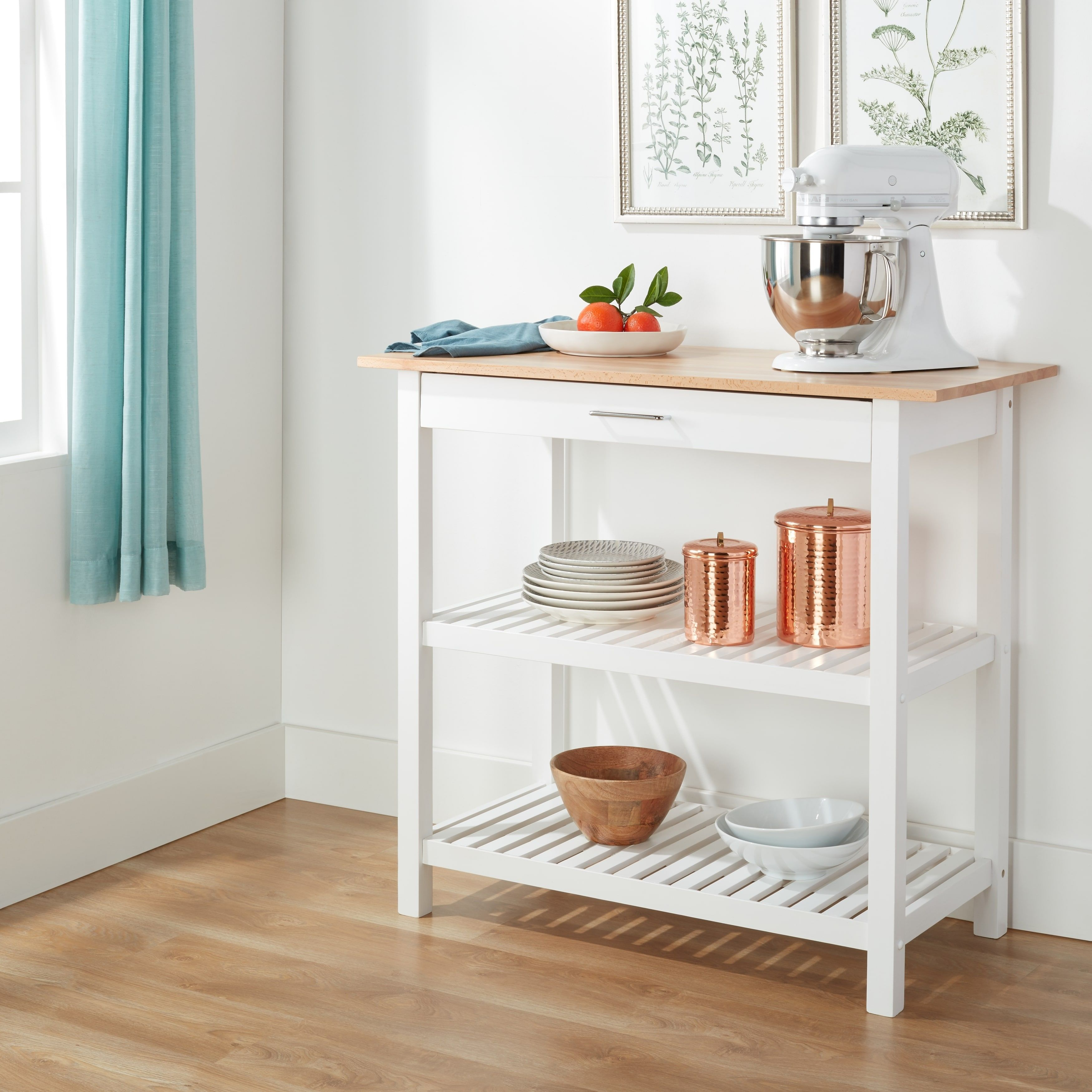 Kitchen Island with Natural Solid Wood Top (White)