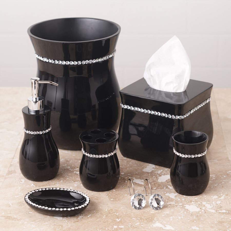 tiffany black bath collection gets kinda pricy after you add it all upi could do the same effect with a hot glue gun and some rhinestones on a cheap black