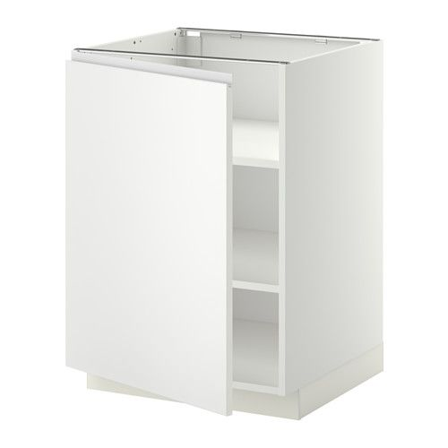 METOD Base cabinet with shelves - white, Nodsta white/aluminium, 60x60 cm - IKEA