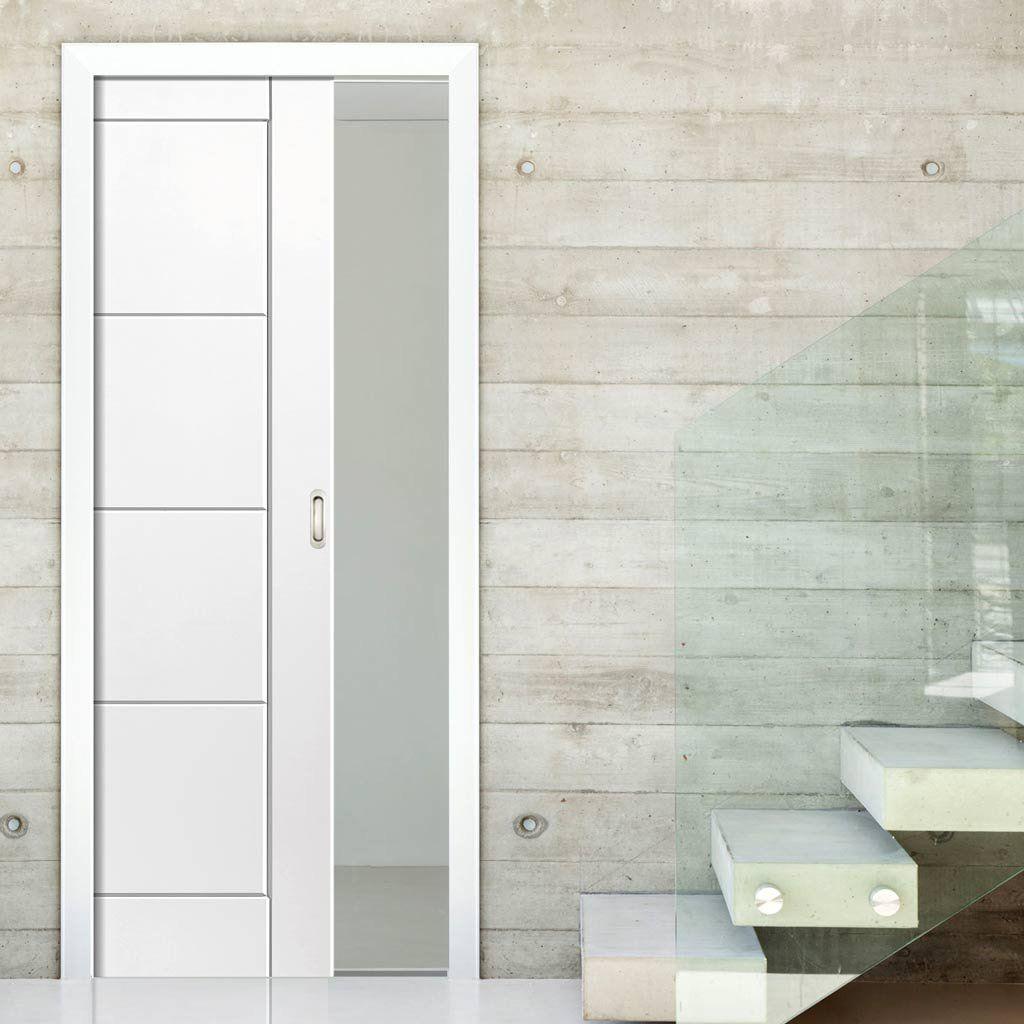 Quattro White Single Pocket Door